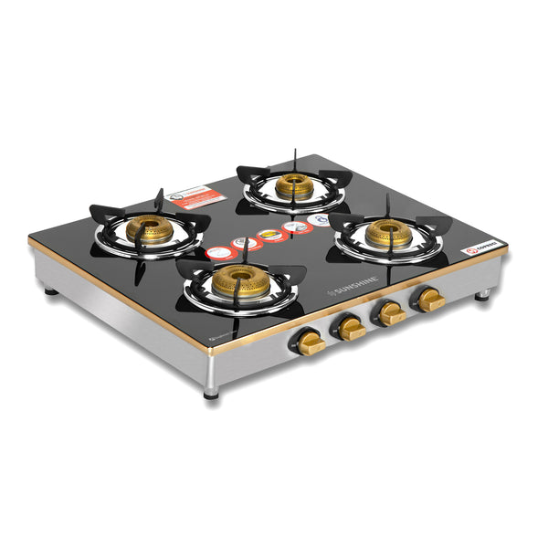Sunshine Trendo Gold Four Burner Toughened Glass Gas Stove