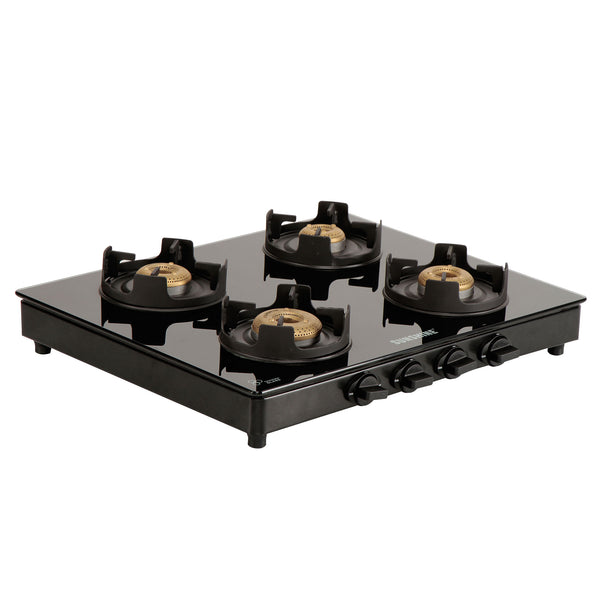 Sunshine Royal Black Alfa MS Four Burner Toughened Glass Gas Stove
