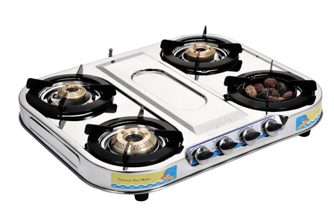Sunshine Meethi Angeethi Four Burner Skytech Stainless Steel Gas Stove