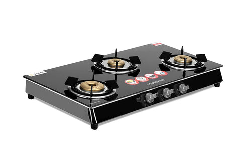 Sunshine Roma Silver 3 Burner Gas Stove Manual Ignition (Glass Top, ISI Certified)