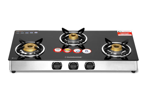 Sunshine Unity 3 Burner Glass Top Gas Stove