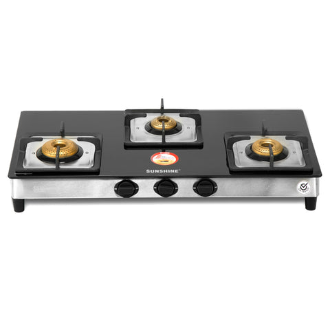 Sunshine Prime Alfa SS Three Burner Toughened Glass Gas Stove