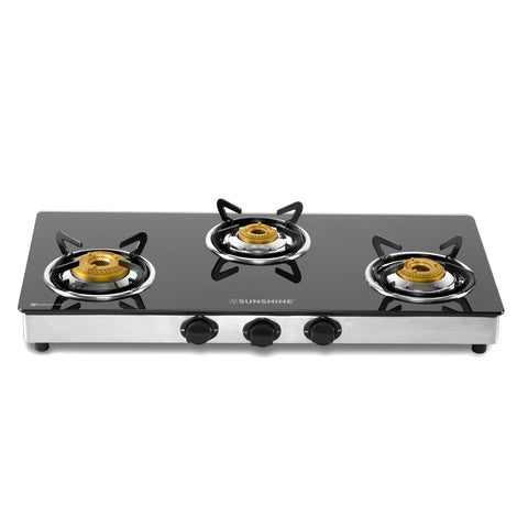 Sunshine Swift Three Burner Toughened Glass Gas Stove