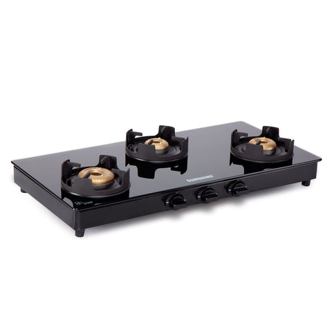 Sunshine Royal Black Alfa MS Three Burner Toughened Glass Gas Stove