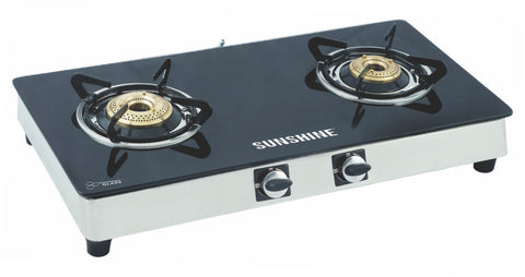 Sunshine Alfa SS Double Burner Toughened Glass Gas Stove