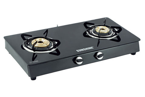 Sunshine Alfa MS Double Burner Toughened Glass Gas Stove