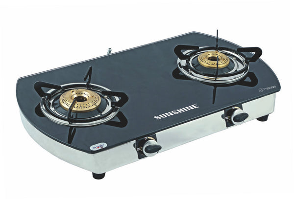 Sunshine Alfa Oval SS Double Burner Toughened Glass Gas Stove