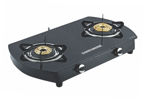 Sunshine Alfa Oval MS Double Burner Toughened Glass Gas Stove
