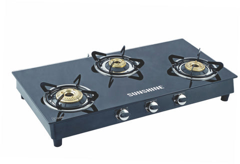 Sunshine Alfa MS Three Burner Toughened Glass Gas Stove