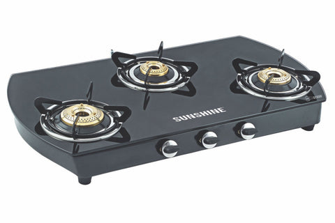 Sunshine Alfa Oval MS Three Burner Toughened Glass Gas Stove