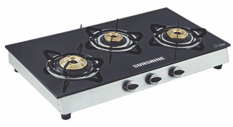 Sunshine Alfa SS Three Burner Toughened Glass Gas Stove