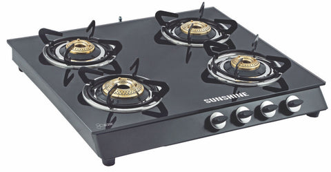 Sunshine Alfa MS Four Burner Toughened Glass Gas Stove