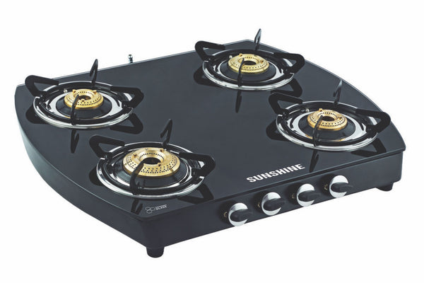 Sunshine Alfa Oval MS Four Burner Toughened Glass Gas Stove