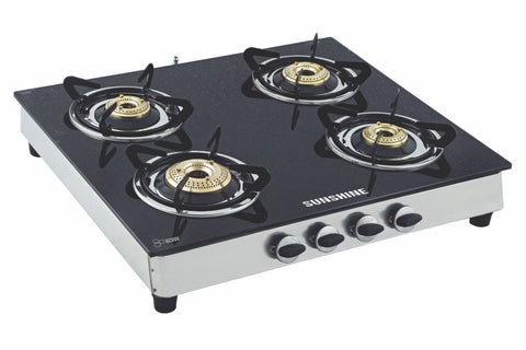 Sunshine Alfa SS Four Burner Toughened Glass Gas Stove