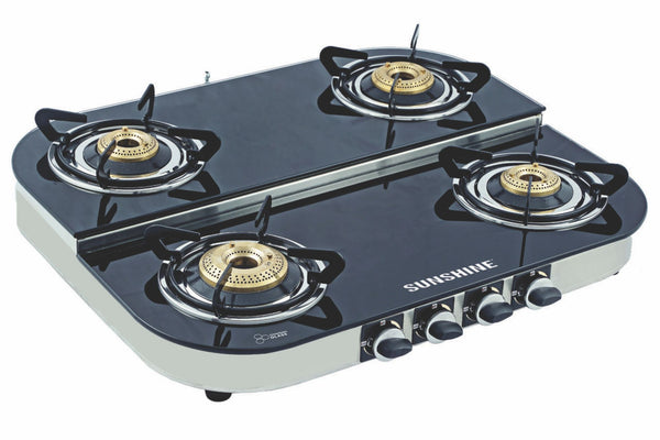Sunshine Alfa Step SS Four Burner Toughened Glass Gas Stove