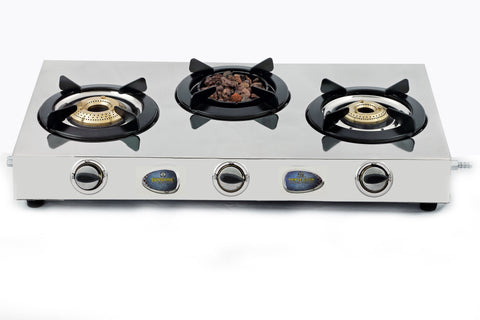 Sunshine Meethi Angeethi Three Burner Stainless Steel Gas Stove - Sunshine Super Kitchen