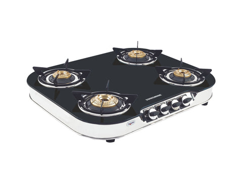 Sunshine Skytech Alfa SS Four Burner Toughened Glass Gas Stove