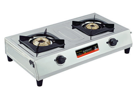 Sunshine Supreme Double Burner Stainless Steel Gas Stove