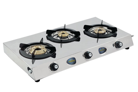 Sunshine Triple Cook Three Burner Stainless Steel Gas Stove