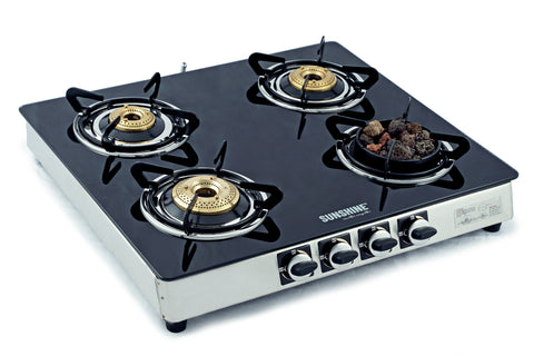 Sunshine Meethi Angeethi Four Burner Toughened Glass Top Gas Stove - Sunshine Super Kitchen