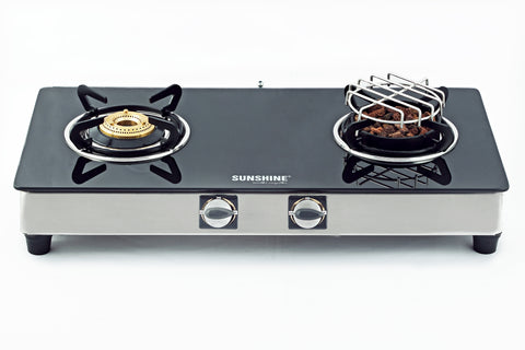 Sunshine Meethi Angeethi Double Burner Toughened Glass Top Gas Stove