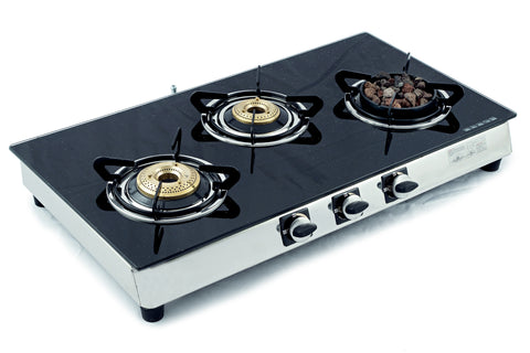 Sunshine Meethi Angeethi Three Burner Toughened Glass Top Gas Stove