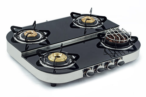 Sunshine Meethi Angeethi Four Burner Step Toughened Glass Top Gas Stove