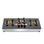 Sunshine Hob Top Three Burner Toughened Glass Gas Stove