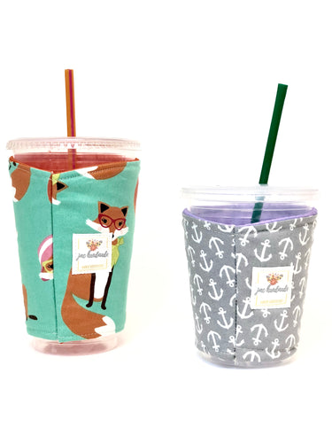 Iced Coffee Cozy. Drink Cozy. Hot/Cold Sleeve. Ice Coffee Drink Holder. Coffee Cuff. Drink Sleeve.