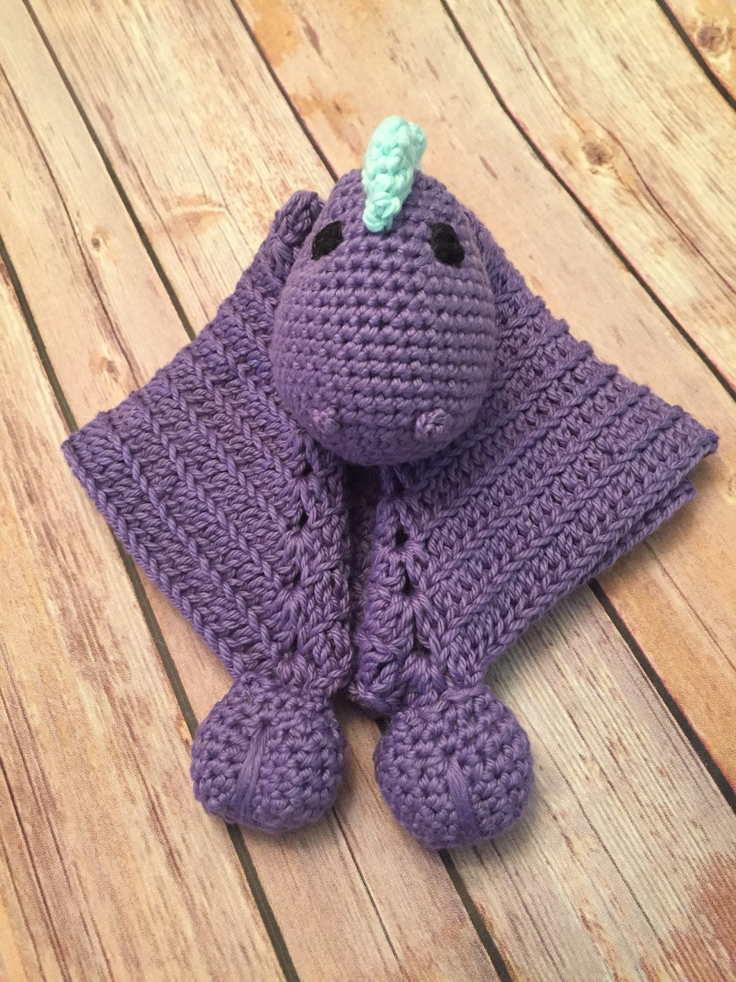 Crochet Dinosaur Lovey - Baby blanket - Dino Lovie