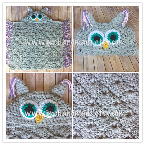 Crochet Owl Blanket - Owl Hooded Blanket - Adult Owl Blanket - Child Owl Blanket