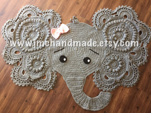 Crochet Elephant Rug. Nursery Rug. Crochet Rug. Jumbo Elephant Rug. Nursery Decor.
