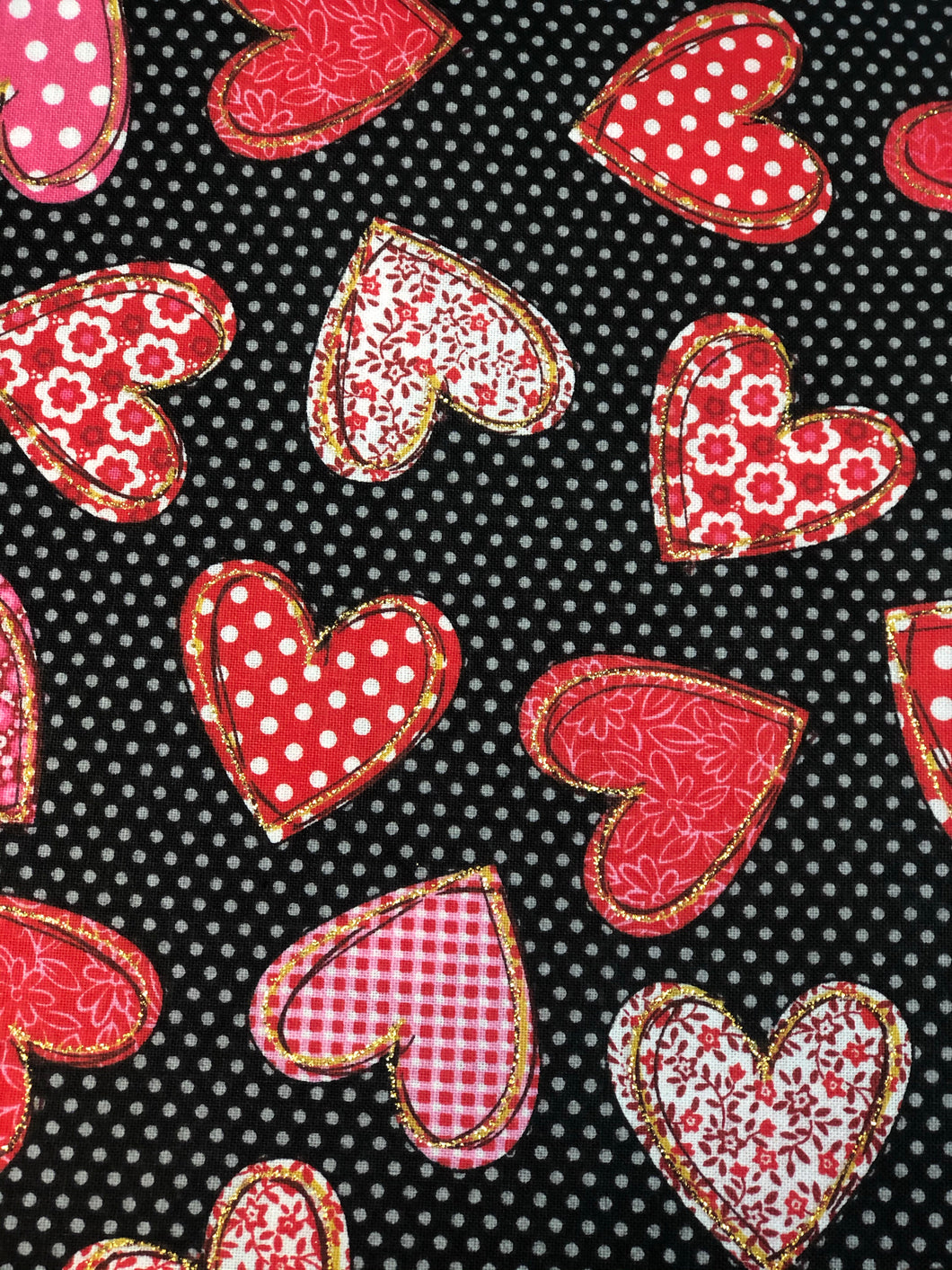 Hearts with polka dots Face Mask | Handmade Cotton shield