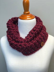 RTS | Chunky Cowl | crochet cowl | cranberry