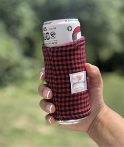 Slim Can Cozy | Drink Sleeve | buffalo check print