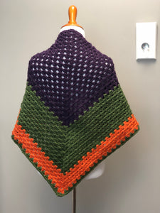 RTS GRANNY SQUARE TRIANGLE SCARF | orange, green, purple