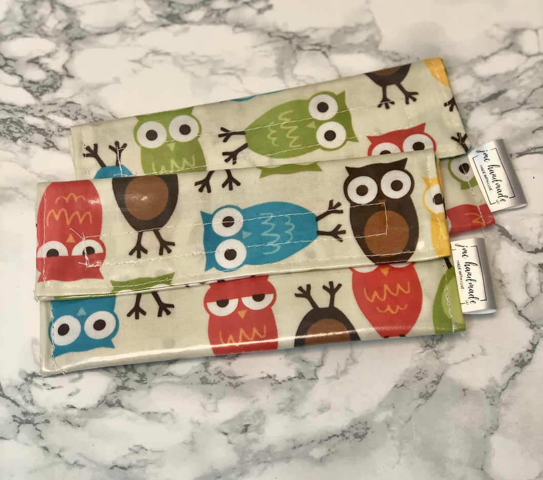 RTS | Reusable Snack Bags | Set of 2 | Owl Print