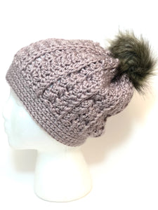 Crochet cable slouchy Beanie with faux fur Pom Pom