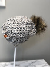RTS | Slouchy Winter Hat with detachable Faux Pom!  | Grey with wolf faux pom