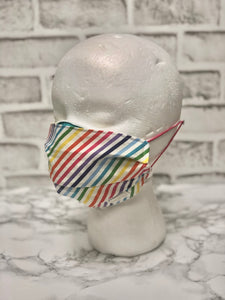 Rainbow Stripe Reusable Face Mask | Handmade Cotton shield