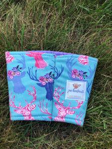 Small Floral Deer Iced Coffee Cozy. Drink Sleeve | RTS