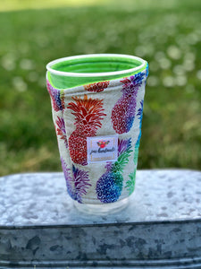 Pineapple Iced Coffee Cozy. Drink Sleeve | RTS