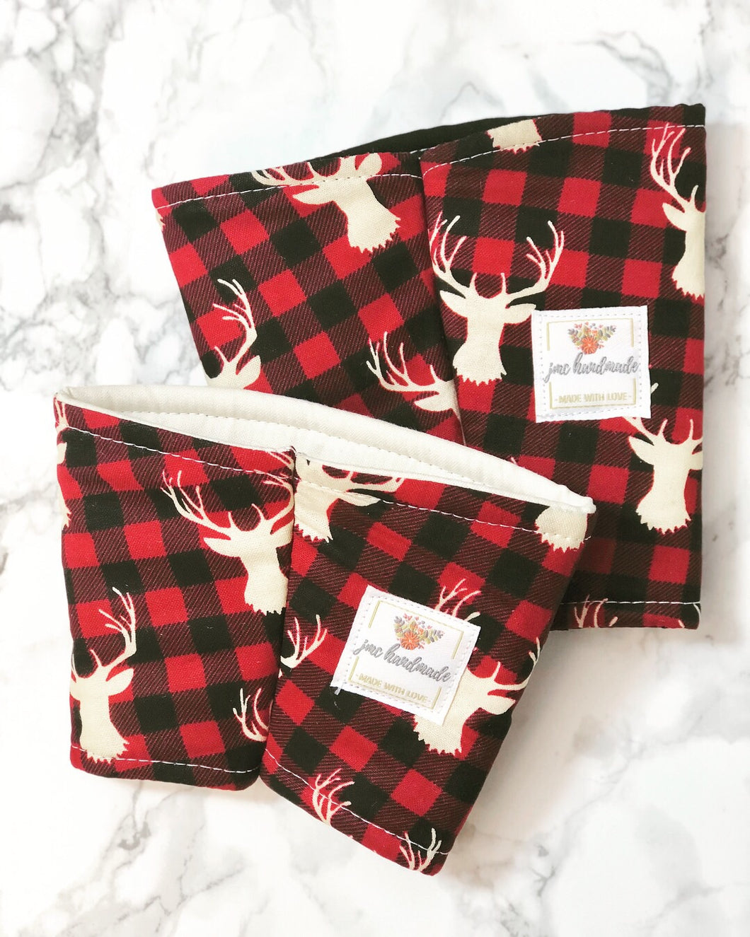 Buffalo Check Deer Print Iced Coffee Cozy. Drink Sleeve.