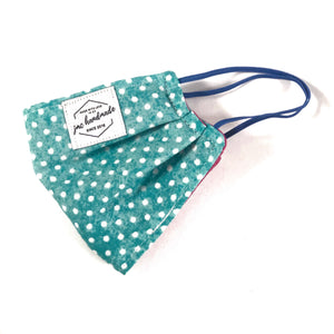 Teal Polkadot Print Reusable Face Mask | Handmade Cotton shield