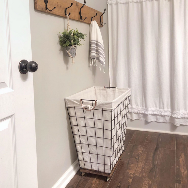 DIY Rolling Hamper Hack, Upgrade a $15 Laundry Basket with Wood Base & Caster Wheels