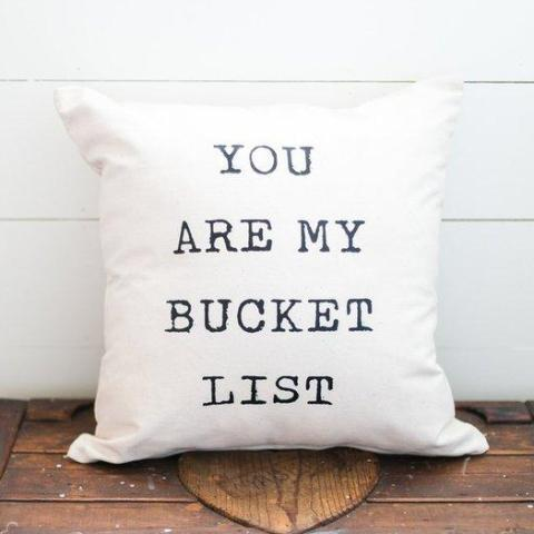 Bucket List Pillow Cover