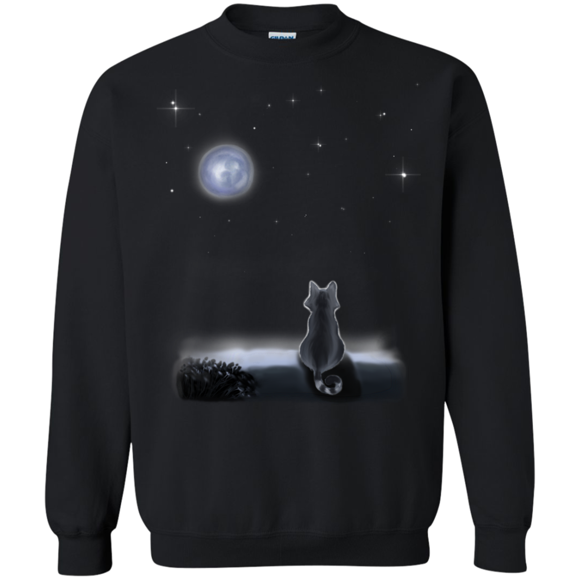 Cat And The Moon T shirts Hoodies For Cate Kittens Lovers - Blue Fox