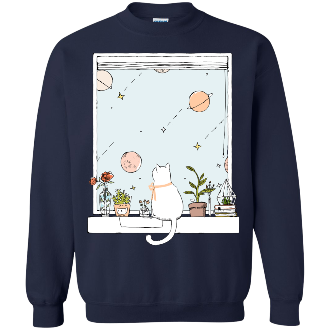 Cat Sitting On Windows Cool Cat T shirts Hoodies Gifts For Cat Lovers - Blue Fox