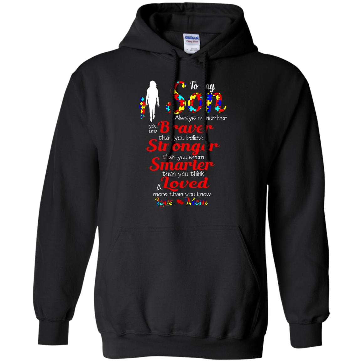 Autism Son T shirts Never Forget Braver Stronger Smarter Hoodies Sweatshirts