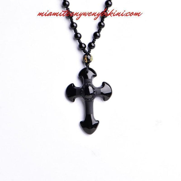Natural Obsidian Cross Necklace - Miami Teeny Weeny Bikini